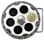 Alchemy Gothic Russian Roulette Belt Buckle with display stand. Code WH3